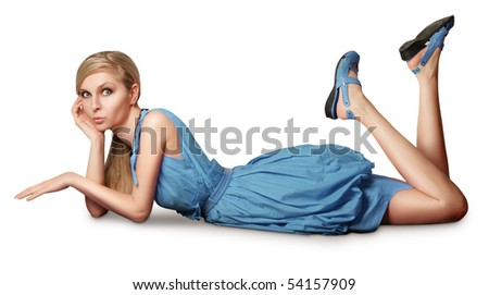 fashion blonde in pink dress lies on a floor isolated - stock photo