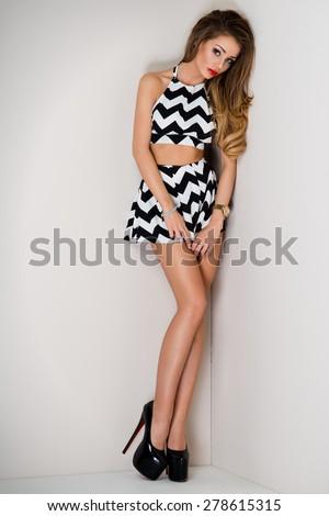 Fashion blonde woman - stock photo
