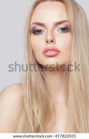 Fashion blonde woman with beautiful face - isolated on white. Skin care concept. - stock photo