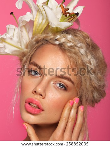 fashion blonde woman with red lips and spring manicure - stock photo