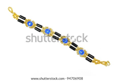 fashion bracelet by blue crystal and black sapphire