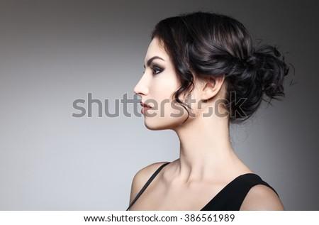 Fashion Brunette Girl - stock photo
