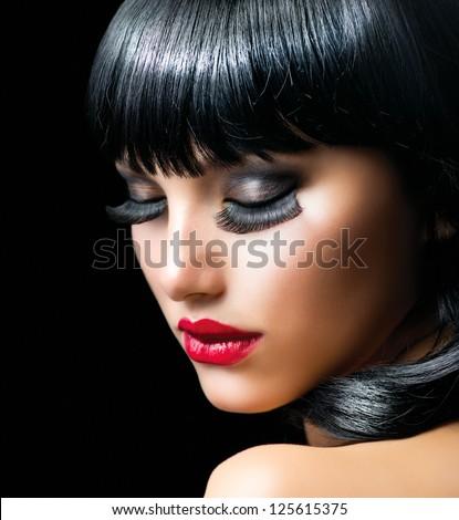 Fashion Brunette Girl Portrait close-up. Beauty Model Woman. Black Hair. Hairstyle. Makeup. Make-up. Long False Eyelashes - stock photo