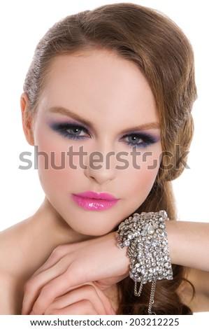 Fashion Brunette Model Portrait. Hairstyle. Haircut. Professional Makeup.  - stock photo