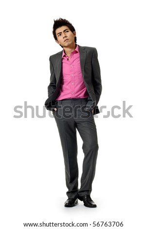 Fashion business man walking with confident expression, full length portrait isolated on white. - stock photo