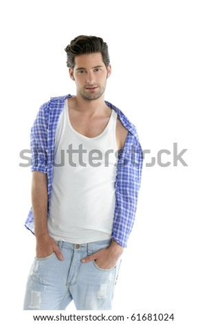 Fashion casual denim handsome man portrait blue jeans and shirt over white