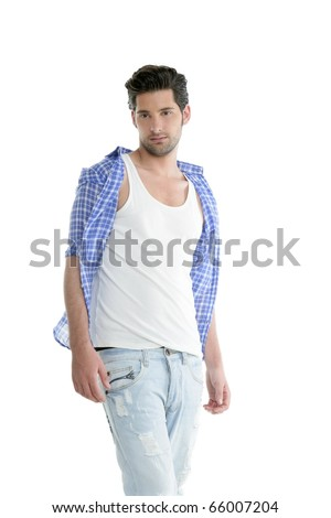 Fashion casual denim handsome man portrait blue jeans and shirt over white - stock photo