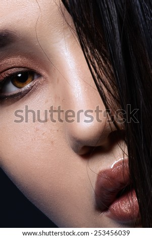 Fashion close-up portrait of asian girl with perfect skin. High resolution glamour shot
