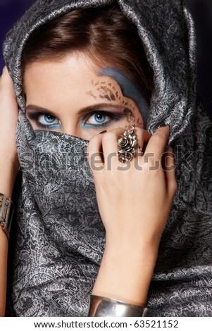Fashion closeup portrait of muslim woman - stock photo