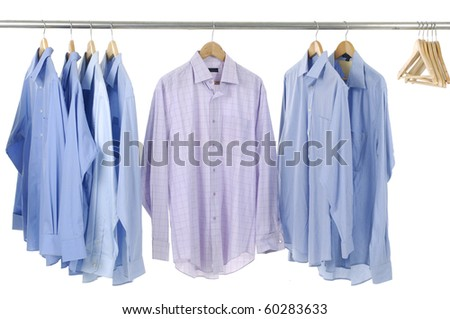 Fashion clothes hanger shirt rack - stock photo