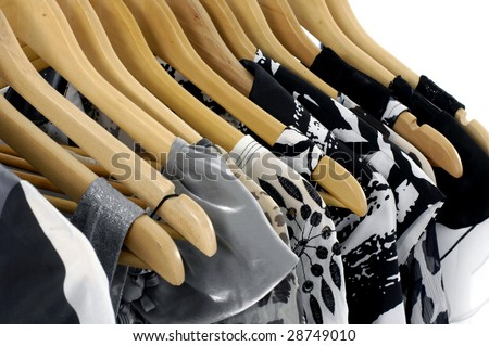 Fashion clothes hangers on a hanger - stock photo