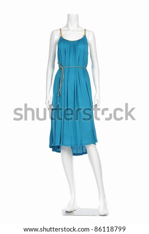Fashion clothes in blue evening on a mannequin