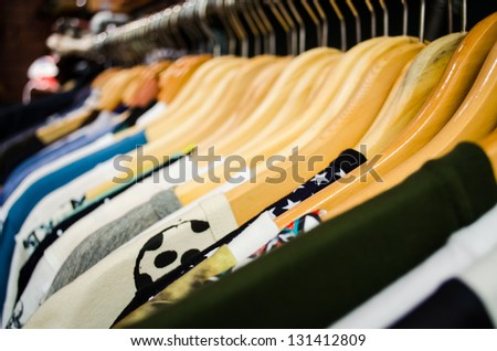 fashion clothing hanging on hanger - stock photo