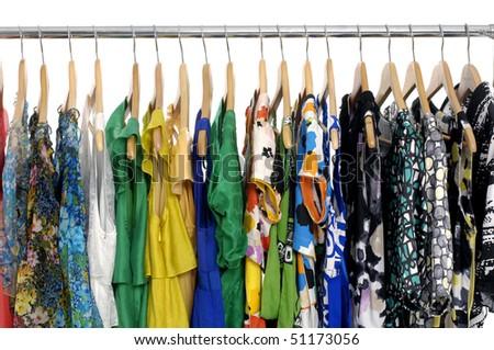 fashion clothing on hanging - stock photo