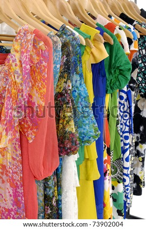 Fashion clothing rack display - stock photo
