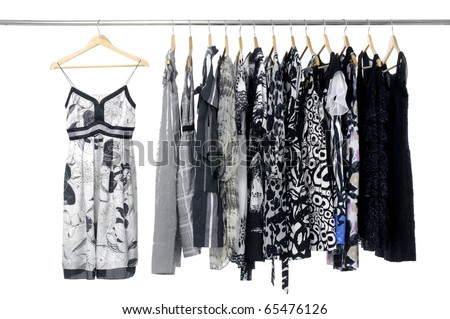 Fashion clothing rack display on hanging - stock photo