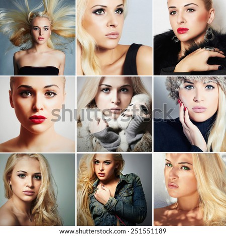 Fashion collage.Group of beautiful young blond women. different style girls.Beauty woman.close-up portrait of pretty blond model - stock photo