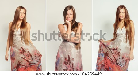 fashion collage of a young beautiful woman with long hair in dress - stock photo