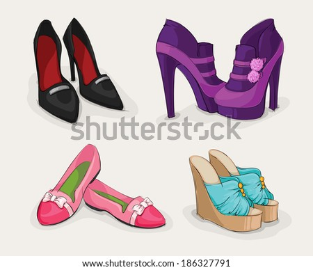 Fashion collection of classic woman's black shoes on high heels ankle boots and sandals isolated  illustration - stock photo