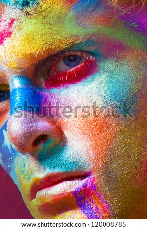 Fashion color Face art model portrait graphic line whith white star - stock photo