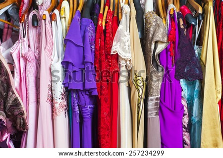 Fashion colorful clothing hanger - stock photo