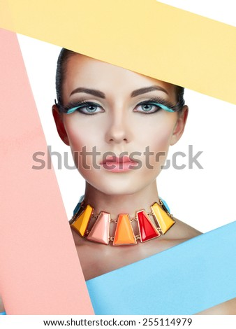Fashion colorful photo of beautiful woman with bright makeup - stock photo