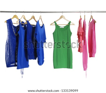 fashion colorful shirt clothing on hangers - stock photo