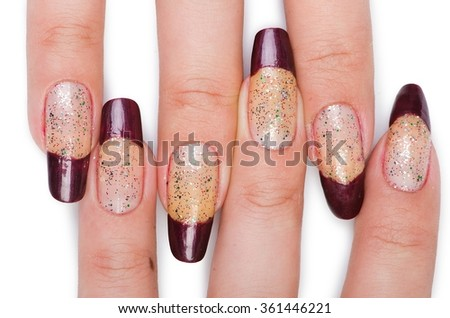 Fashion concept with nail art - stock photo