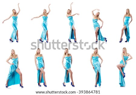 Fashion concept with tall model on white - stock photo