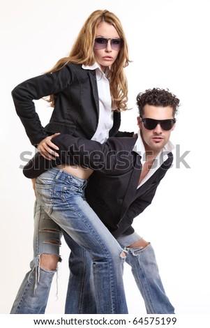 fashion couple posing - stock photo