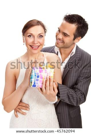 fashion couple, studio shot isolated on white - stock photo