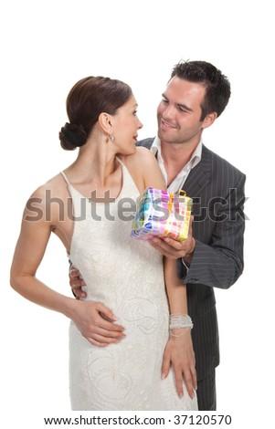 fashion couple, studio shot on white - stock photo