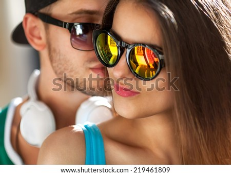 fashion couple with love - stock photo