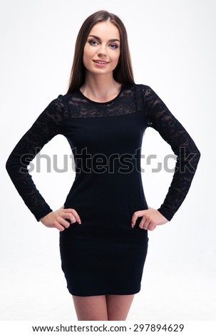 Fashion cute woman posing isolated on a white background. Looking at camera - stock photo