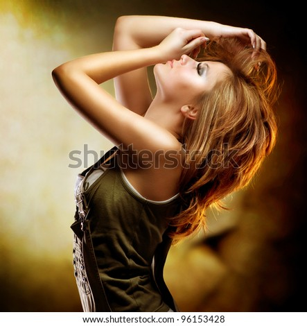 Fashion Dancing Girl. Disco Woman - stock photo