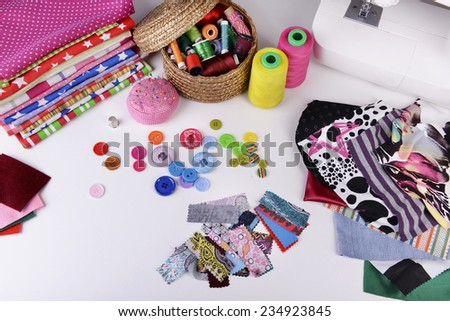 Fashion design, close-up. Sewing items - stock photo