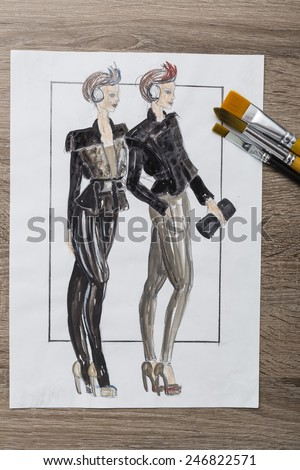 Fashion Design Sketch - stock photo