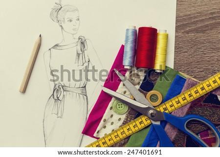 fashion design sketch  - stock photo