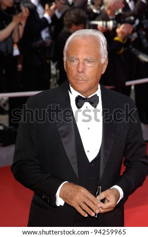 Fashion designer GIORGIO ARMANI at the Cannes Film Festival preview screening of Gangs of New York. 20MAY2002.   Paul Smith / Featureflash
