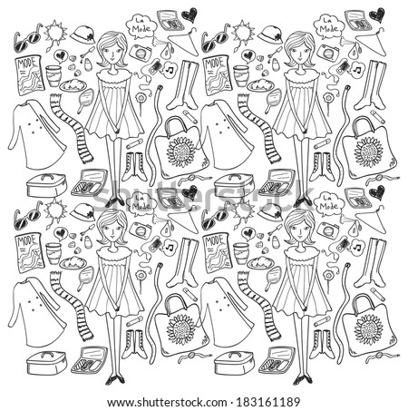 fashion doodle seamless background  - stock photo