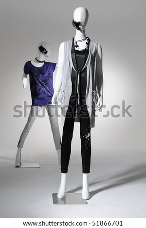 fashion dress on mannequin isolated - stock photo