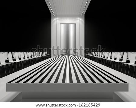 Fashion empty runway - stock photo