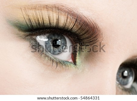 Fashion eye, long eyelashes and beautiful eye. - stock photo