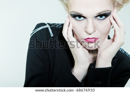 Fashion face and hands - stock photo