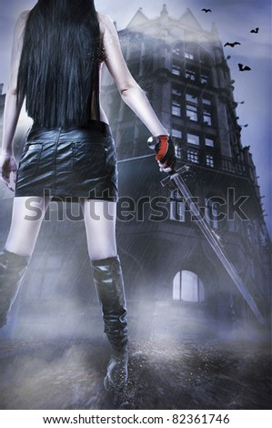 Fashion fantasy portrait of unknown amazing sexy woman with medieval sword stay about old house by rain. - stock photo