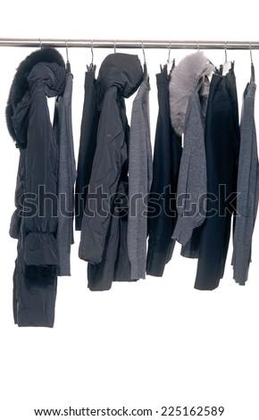Fashion female,autumn clothes rack display  - stock photo