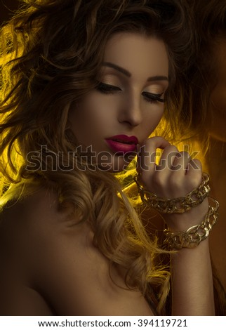 fashion female beauty portrait woman with gold reflections ,  - stock photo