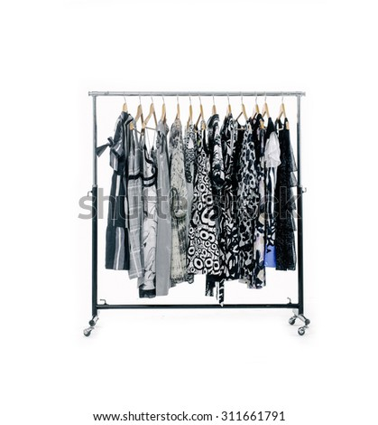 Fashion female,clothes rack display  - stock photo
