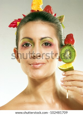 Fashion fruits hairstyle and fruits. - stock photo