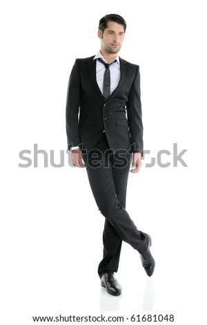 Fashion full length trendy elegant young black suit man - stock photo